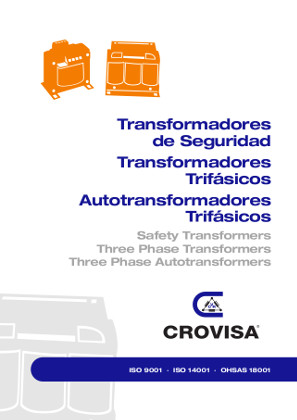 Front cover of the single-phase and three-phase isolating, mains and control transformers