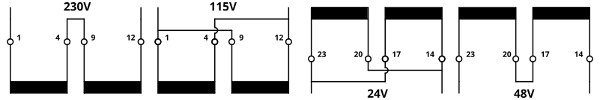 Low-profile encapsulated transformers serial parallel connection